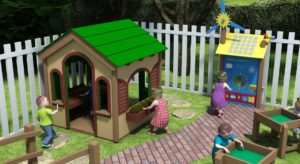 3D rendering of outdoor learning and play center