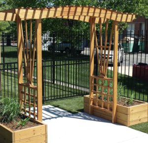Outdoor wooden awning in play area