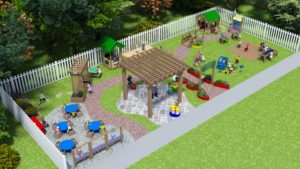 3D rendering of outdoor learning and activity center